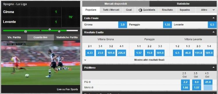 lo streaming calcio come appare sulla piattaforma betfair