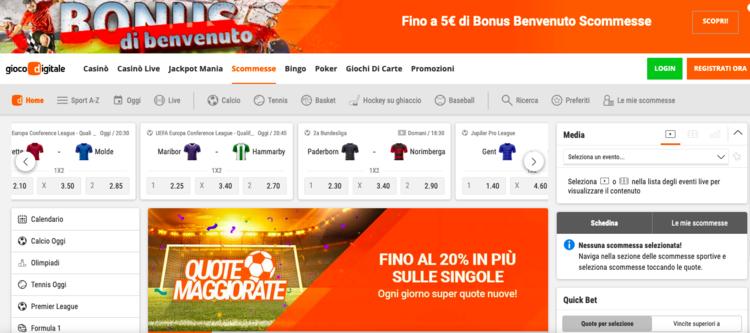 dettaglio della home page di gioco digitale scommesse