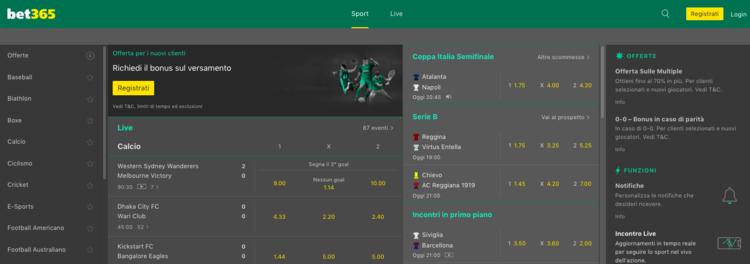la home page di bet365