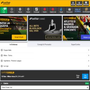 la schermata dedicata alle scommesse sportive su betfair