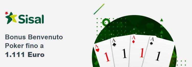 il bonus di benvenuto di sisal poker