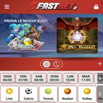 la home page di fastbet