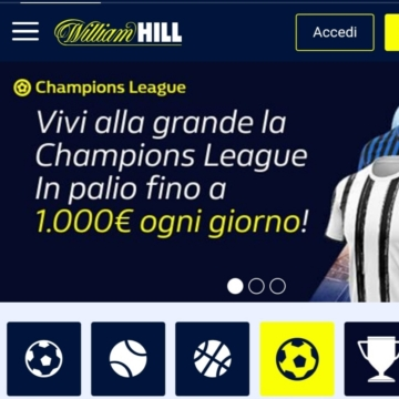 l'interfaccia dell'app william hill