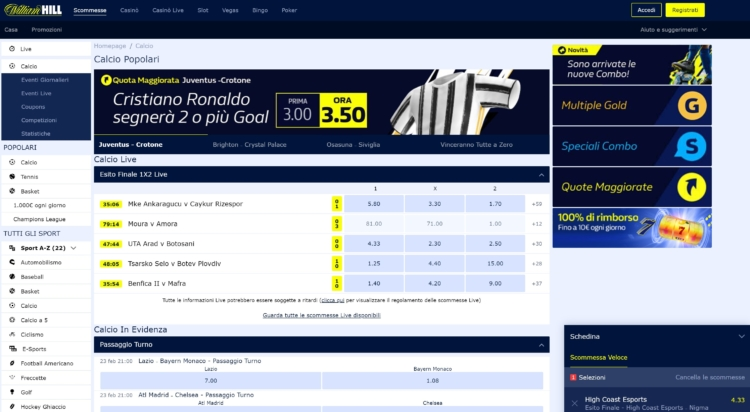 la piattaforma william hill