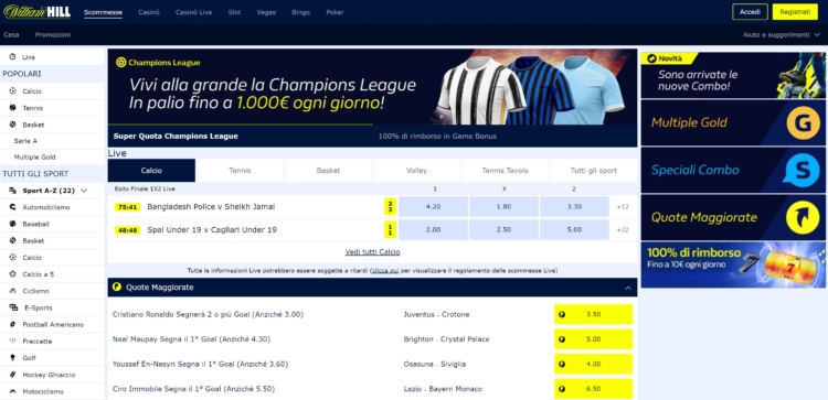 la piattaforma william hill scommesse