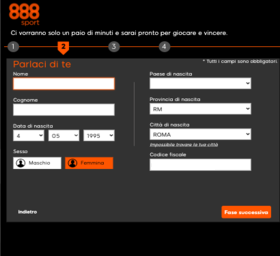 secondo step per registrarsi su 888sport