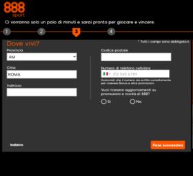 terzo step per registrarsi su 888sport