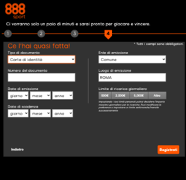 quarto step per registrarsi su 888sport