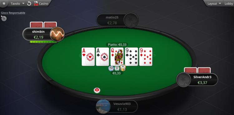 la schermata di gioco su pokerstars