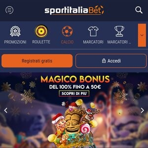 l'interfaccia del sito sportitaliabet su mobile
