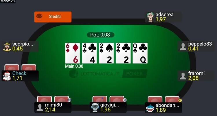 un tavolo cash su Lottomatica Poker