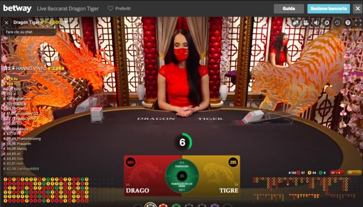 baccarat live su betway casino