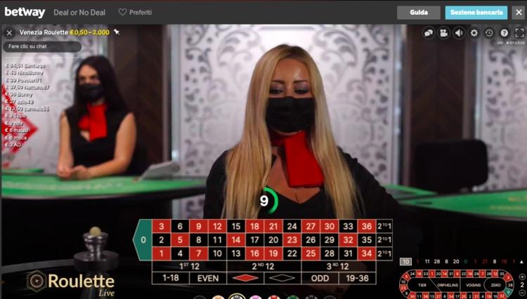 Roulette live su betway casino